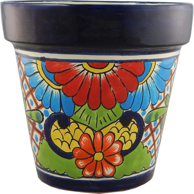 Mexican Talavera Planter Ceramic Flower Pot Folk Art Pottery Garden Handmade #28