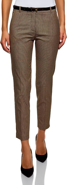 oodji Collection Mujer Pantalones Ajustados con Cinturón