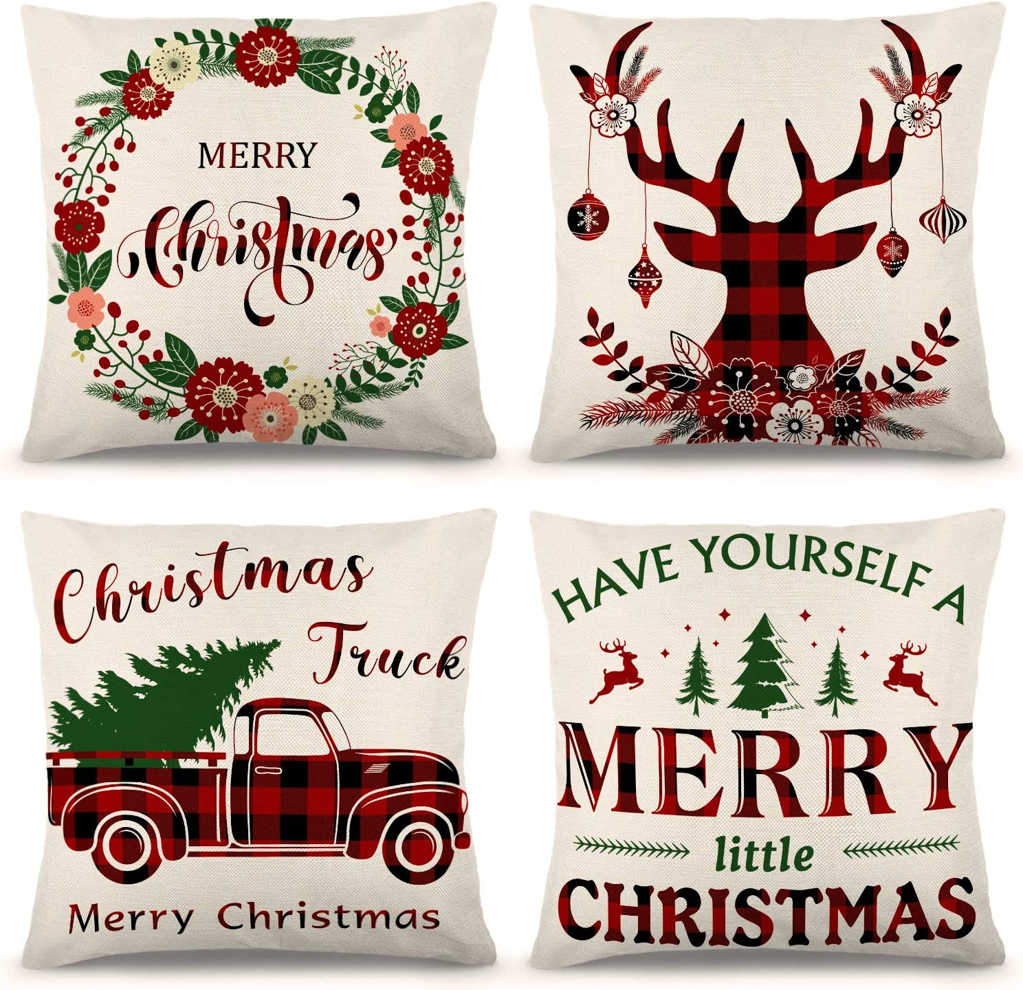 Ueerdand Christmas Pillow Covers 18/×18 Inch Set of 4 Black and Red Farmhouse Buffalo Plaid Pillow Covers Rustic Linen Pillow Case for Sofa Couch Holiday Christmas Decorations Throw Pillow Covers