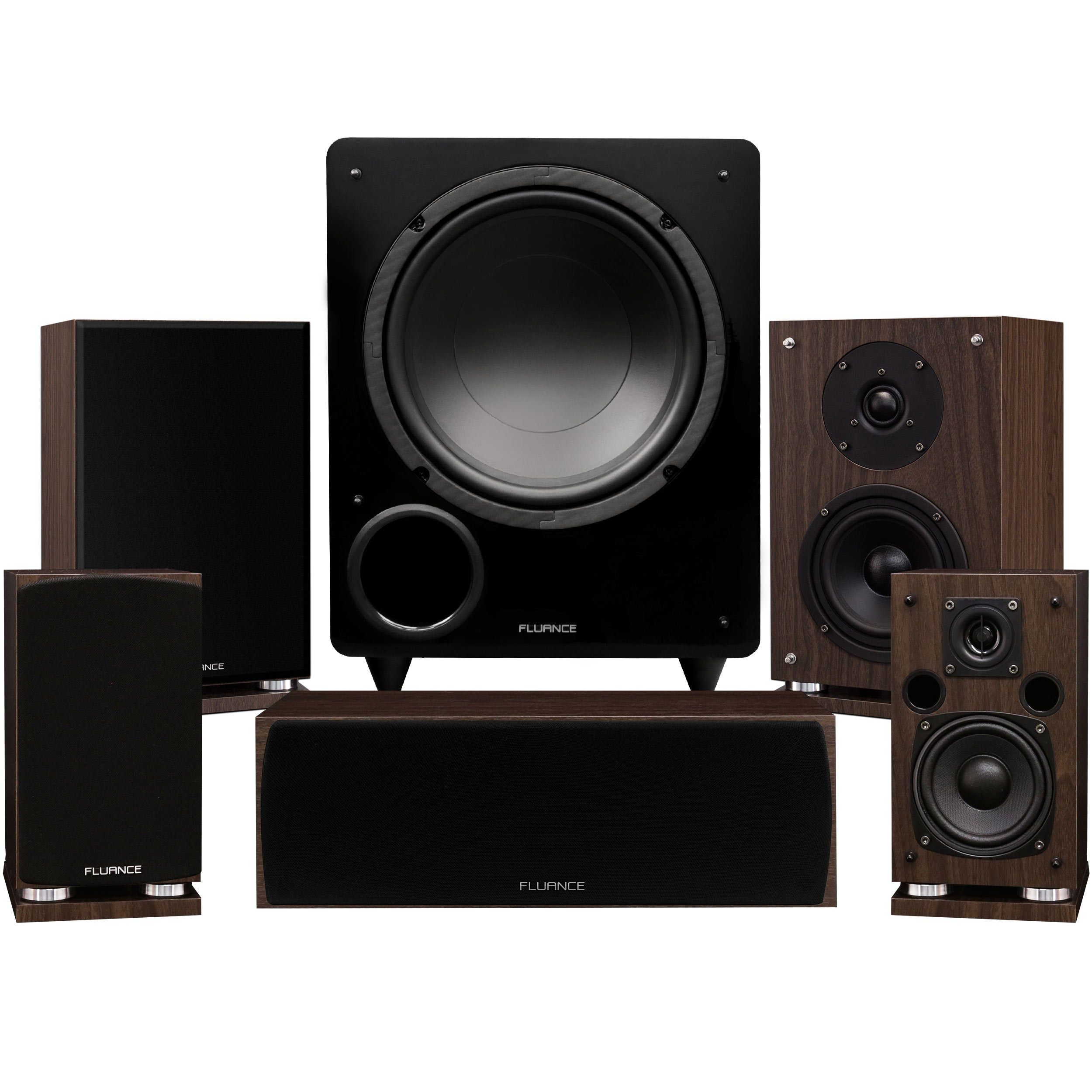 Fluance Elite Series Compact Surround Sound Home Theater 5.1 Channel Speaker System Including Two-Way Bookshelf, Center Channel, Rear Surrounds and a DB10 Subwoofer - Walnut (SX51WC)