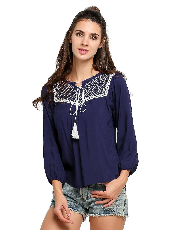 Fanala Women Casual O-Neck Long Sleeve Embroidery Loose Blouse Tops(White)