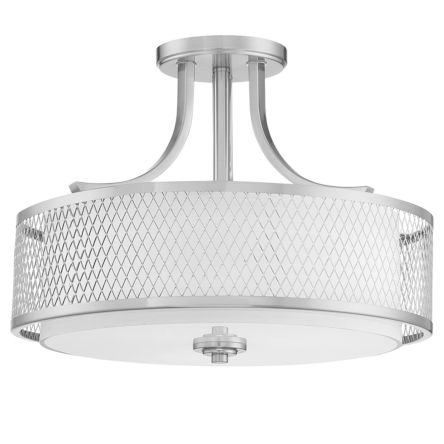 Kira home linx 16 3 light semi flush mount ceiling light fixture outer mesh shade and inner white fabric shade brushed nickel finish amazon com