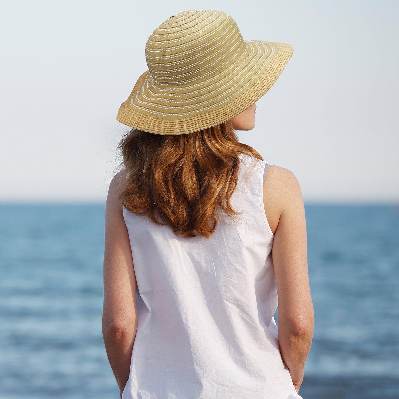 Women Floppy Sun Beach Hats w/Wide Brim Straw Edge Summer UV Protection Foldable Gardening Hiking Cap