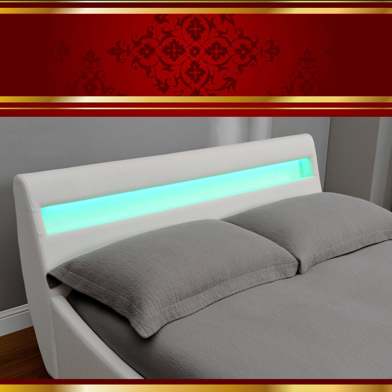 Di-Nesh Venedig LED Luxus Weiss Polsterbett Doppelbett Bettgestell ...
