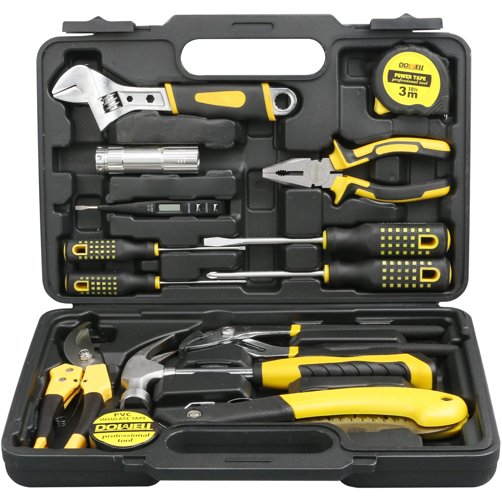 CDM product DOWELL 14 Pieces Homeowner Tool Set, Home Repair Hand Tool Kit with Plastic Tool box Storage Case big image