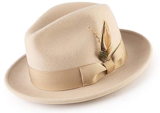 MONTIQUE Long Lasting Lightfelt 2 ½ Inch Wide Brim Wool Felt Dress Hat Men  H- 6148ec7139d