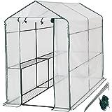 TecTake Serre de jardin cadre en metal PE plastique tente abri 186x120x190cm avec étagère