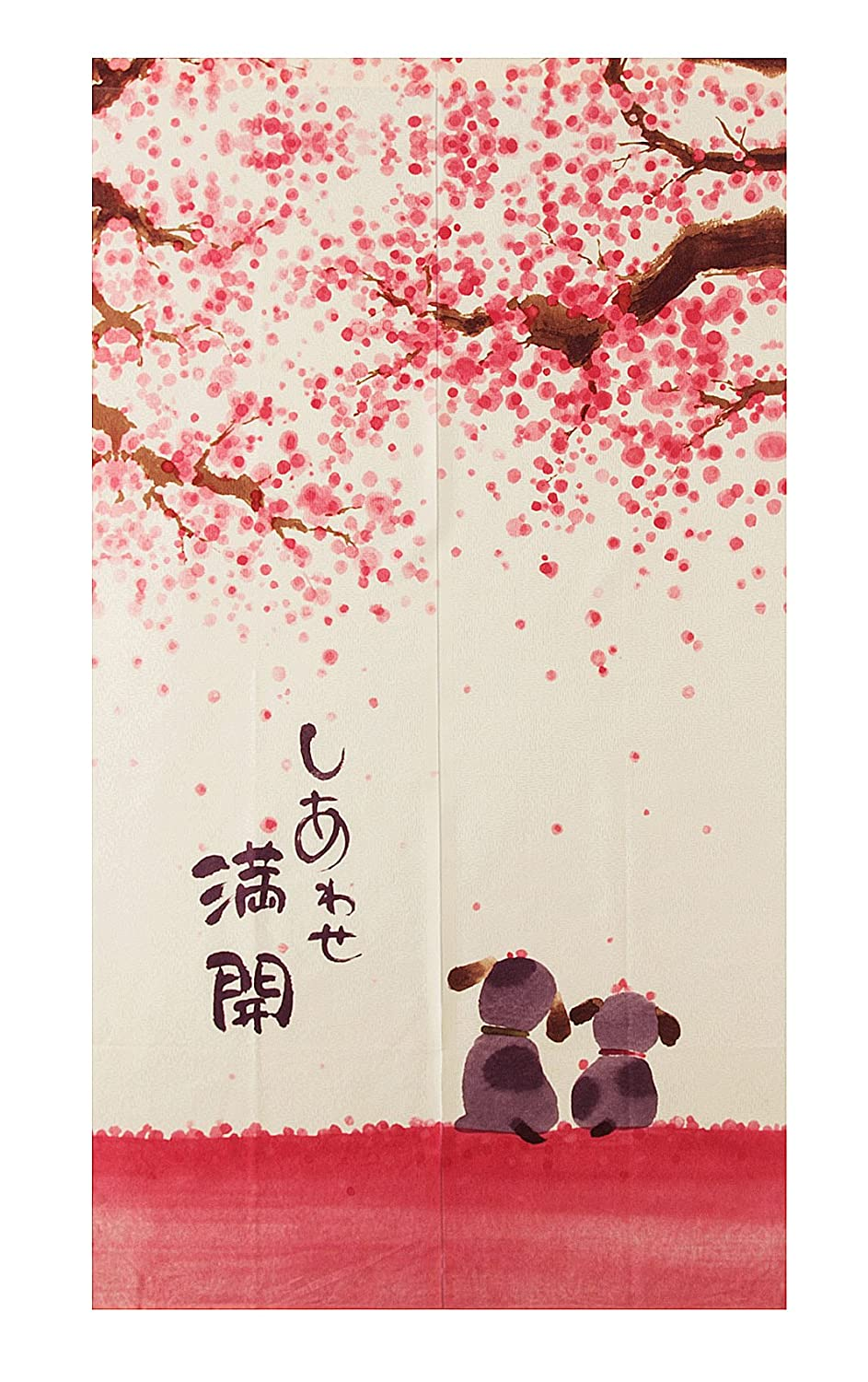 Noren Japanese Doorway Curtain 85x150cm Happy Dogs Cherry Blossom conpo TR-HM-DC150