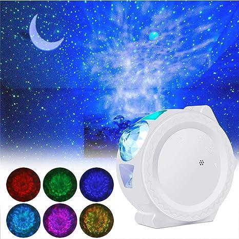 Proyector LED de Luz Nocturna, ALED LIGHT 3-en-1 Luz de Proyector Estrellas Decorativa Luna y Onda de Agua Proyector de Luz Nocturna Infantil con ...