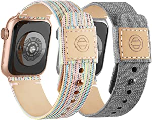 Compatible with Apple Watch Bands 38mm 40mm, Soft Cloth Fabric iWatch Bands Women Men Canvas with Genuine Leather Lining and Snap Button Straps for Apple Watch Series 6/5/4/3/2/1/SE,Gray, Rainbow