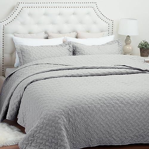 Quilt Set Solid Grey Basketweave Pattern Lightweight Hypoallergenic Microfiber