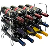 Sorbus 3-Tier Stackable Wine Rack - Classic Style Wine Racks for Bottles - Perfect for Bar, Wine Cellar, Basement, Cabinet, Pantry, etc - Hold 12 Bottles, Metal (Silver)