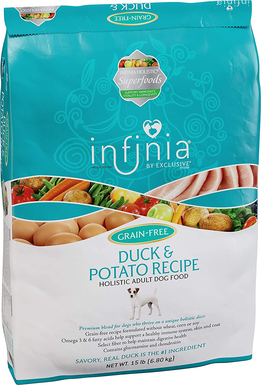 Infinia | Duck and Potato Grain-Free Adult Dog Food | Nutritionally Complete | 15 Pound (15 lb.) Bag