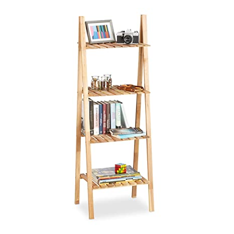 Relaxdays Holzregal Walnuss, Bücherregal Holz, Leiterregal Bad, Badregal  braun, H x B x T: ca. 131 x 46 x 34 cm, natur