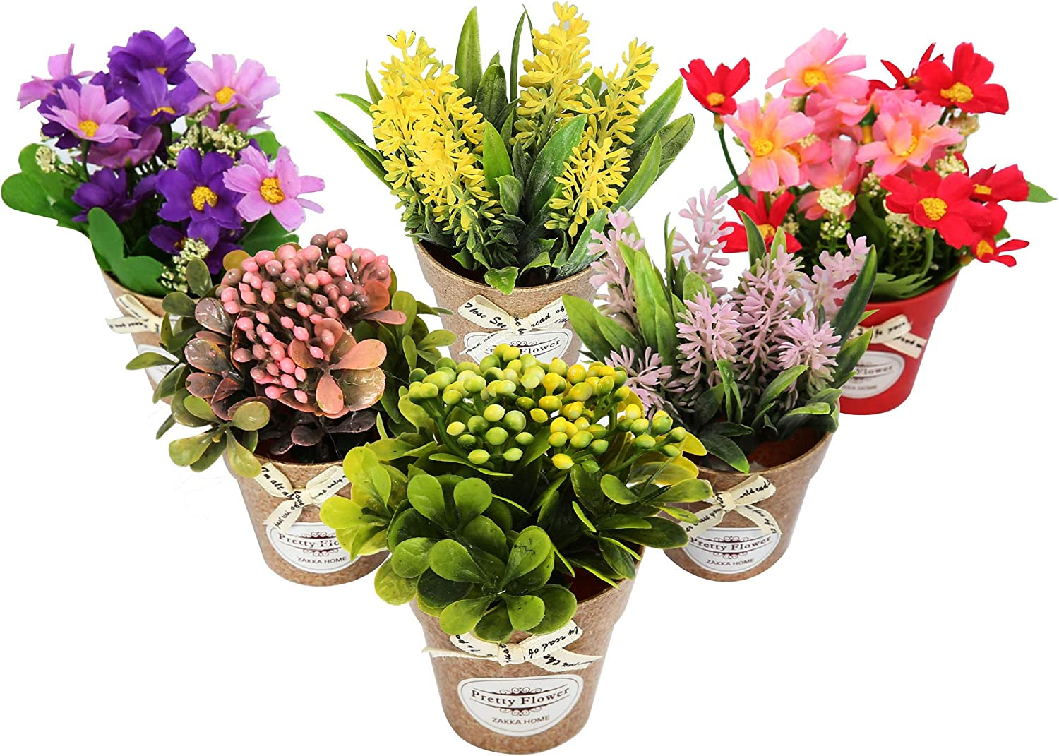 Artificial Flower Fake Plastic Potted Lifelike Plant Ornament Home Office Decors