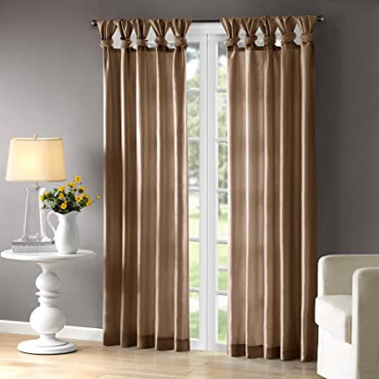 Madison Park Taupe Curtains For Living Room Transitional Fabric Window Bedroom Solid