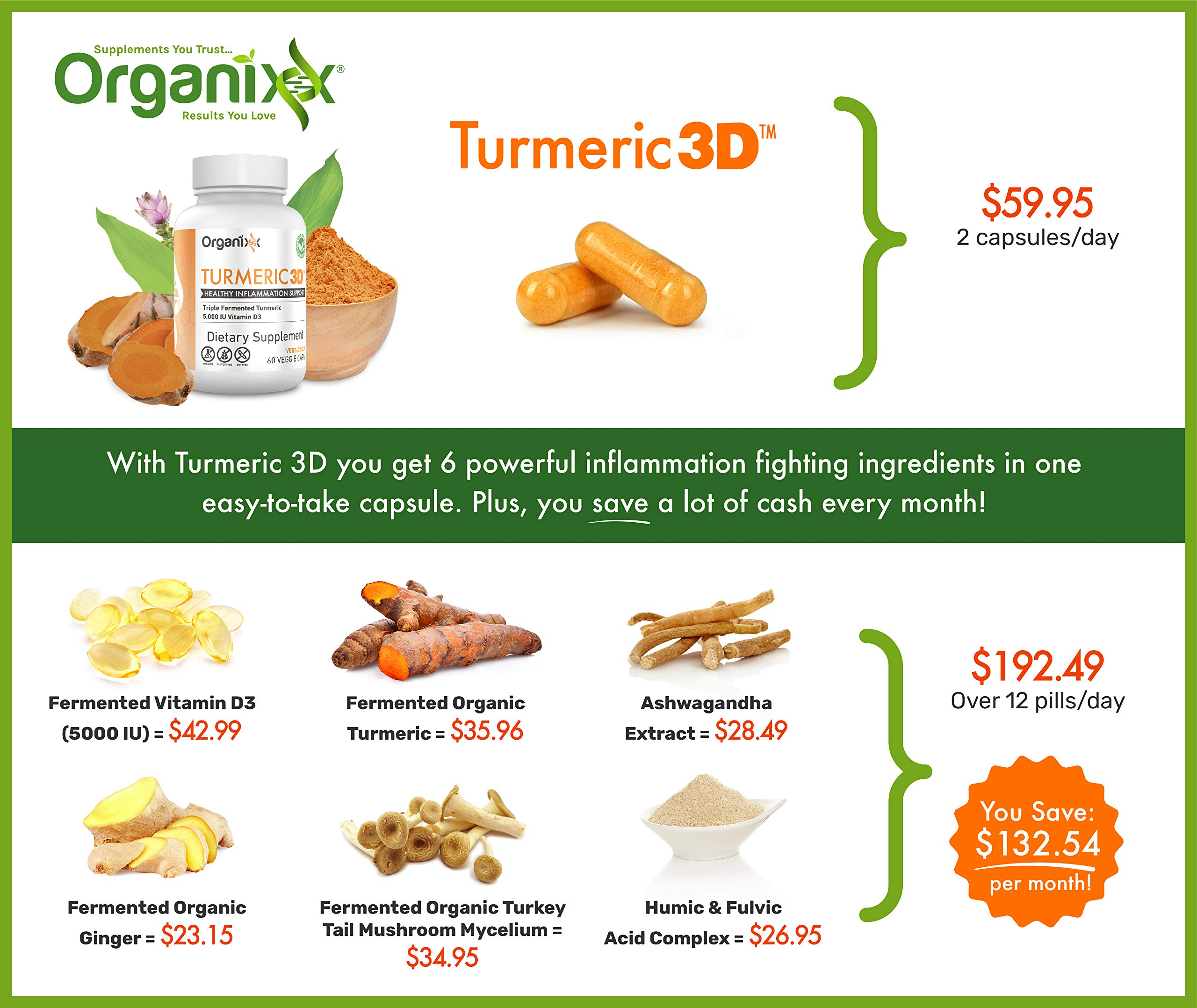 Organic Turmeric Curcumin Supplement with Ginger for Joint Pain Relief, 6-in-1 Anti-Inflammatory Blend - No Black Pepper (No Aftertaste) - Turmeric 3D by Organixx (60 Capsules)