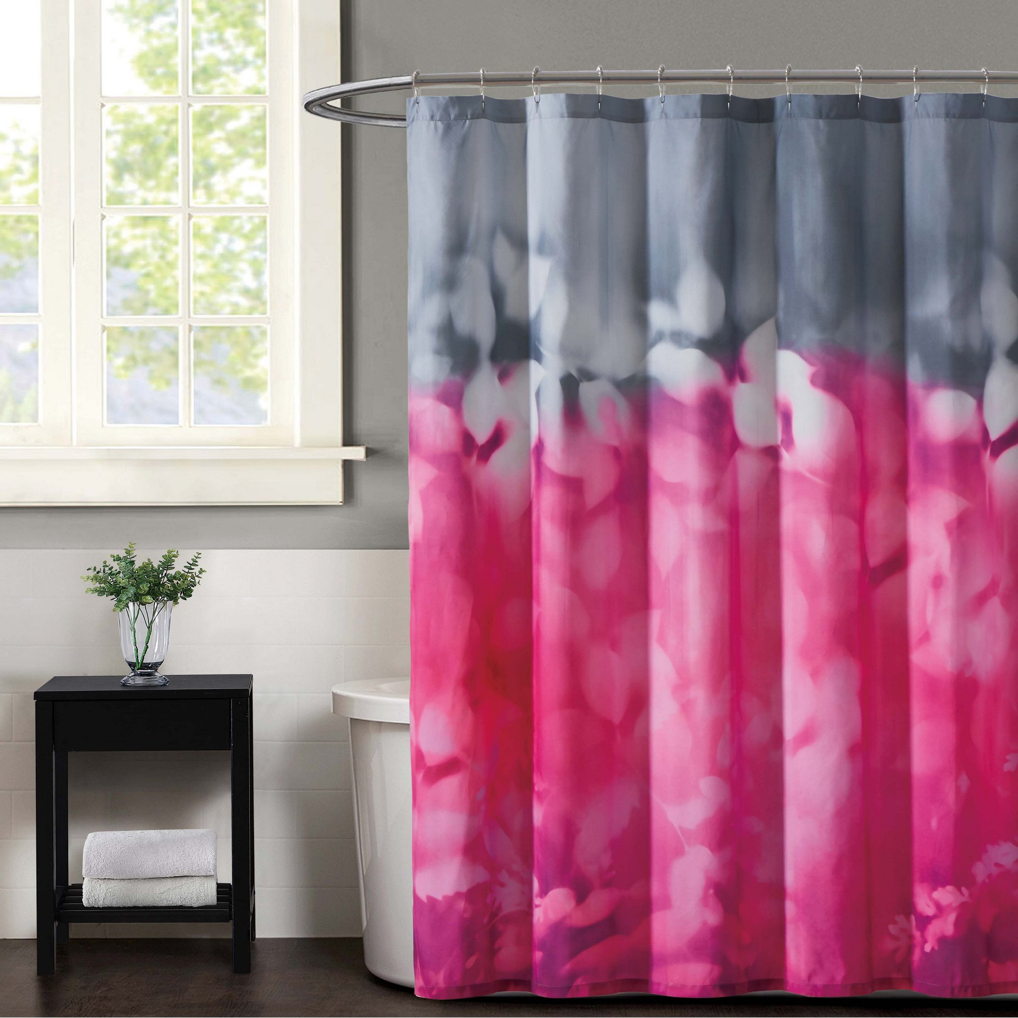 Christian Siriano Botanical Ombre Shower Curtain, 72'' x 72'', Magenta/Grey by Christian Siriano