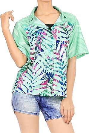 HAPPY BAY - Camisa Hawaiana para Mujer, diseño de Aloha Tropical - Verde - Large: Amazon.es: Ropa y accesorios