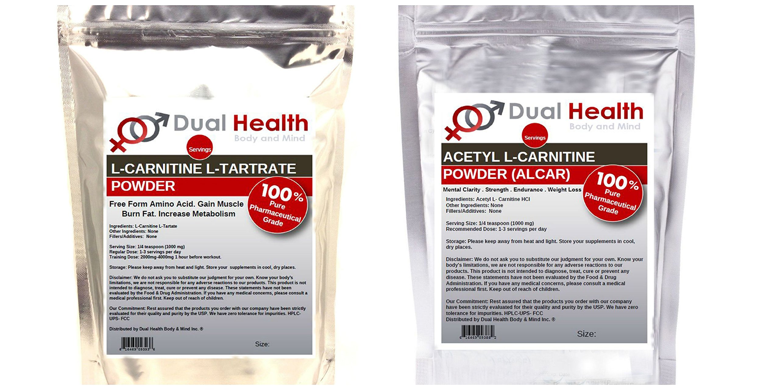 Pure L Carnitine & Acetyl L-Carnitine (ALCAR) Powder (2.5kg x 2) 1 BAG OF EACH