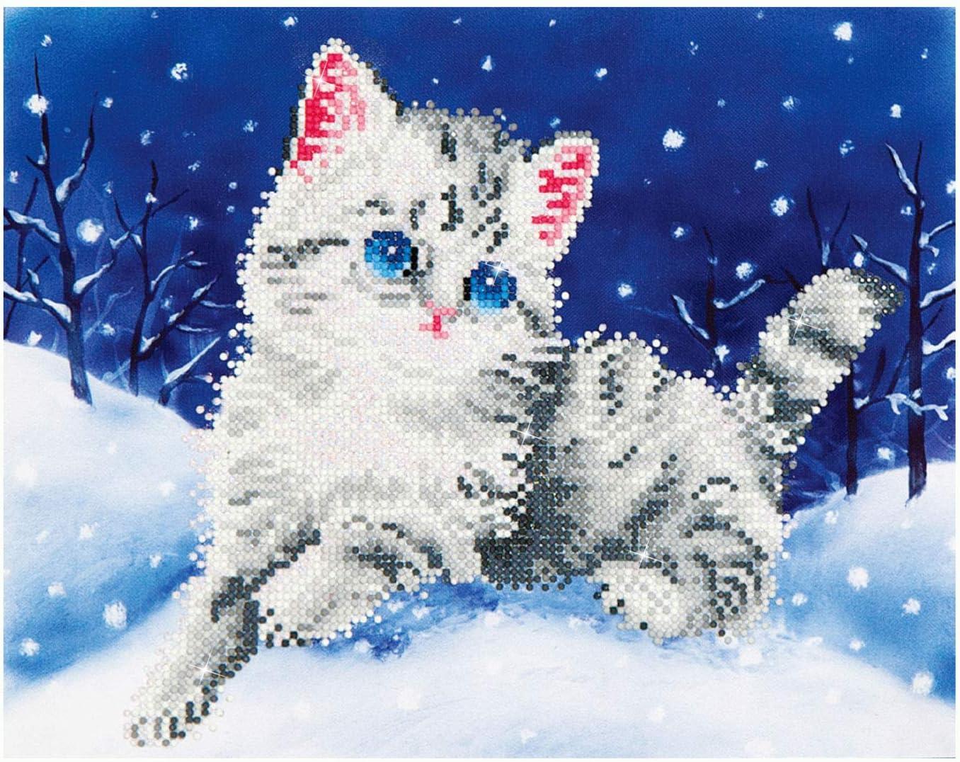 ca Diamond Dotz Katze im Schnee funkelndes Diamantbild zum Selbstgestalten Malen mit Diamanten neuer und kreativer Basteltrend Pracht Creatives Hobby DD5-006 35,5 x 27,9 cm gro/ß