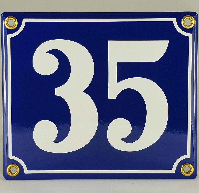 Emaille Schild Hausnummer 39 Schwarz-Wei/ßHandarbeit