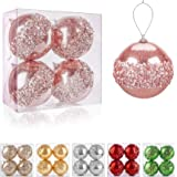 "ZHANYIGY 4"" Christmas Ball Ornaments, 4pc Set Rose Gold Shatterproof Christmas Decorations Tree Balls for Xmas Trees…"