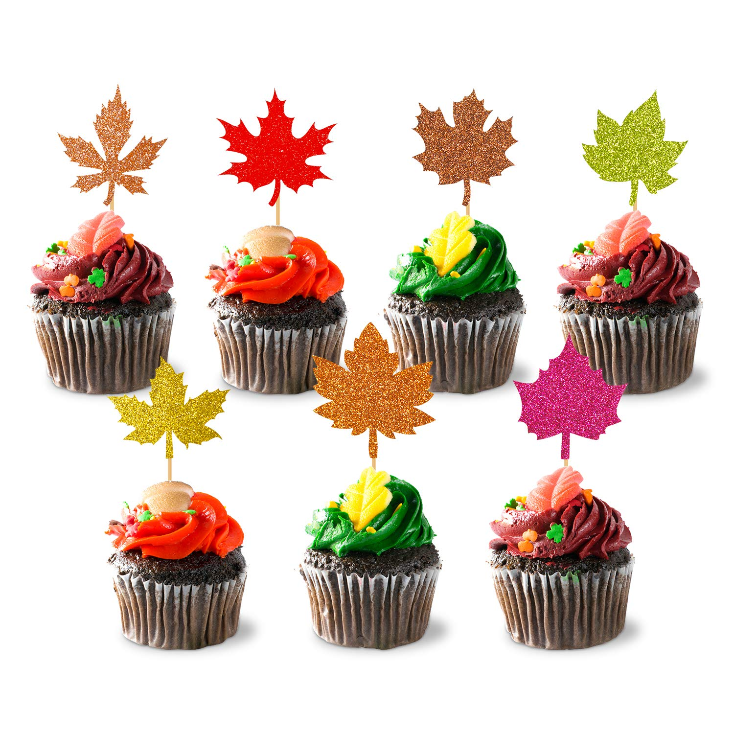 35PCS Glitter Maple Leaf Thanksgiving Holiday Cupcake toppers Fall Leaves Food Picks Pie Toppers for Fall Autumn Harvest Party Cake Decorations Supplies