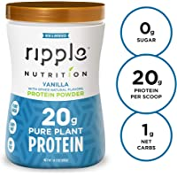 Ripple Vegan Protein Powder, Vanilla | 20g Clean Plant Based Pea Protein | Non-GMO, Non-Dairy, Soy Free, Gluten Free, Lactose Free | For Smoothies, Shakes, Workout Recovery and Meal Replacement