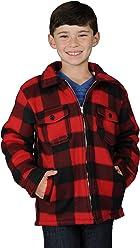 OSCAR DE LA RENTA Boys Zip Up Flannel Heavy Sherpa Lined Fleece Sweater for Kids Small