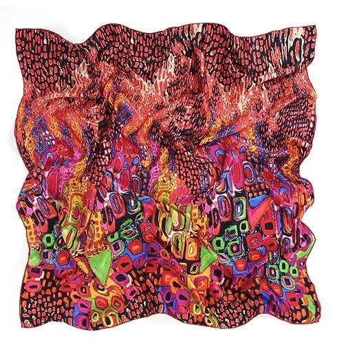 Prettystern - 90cm bufanda de seda impresión artística - diferentes diseños / colores