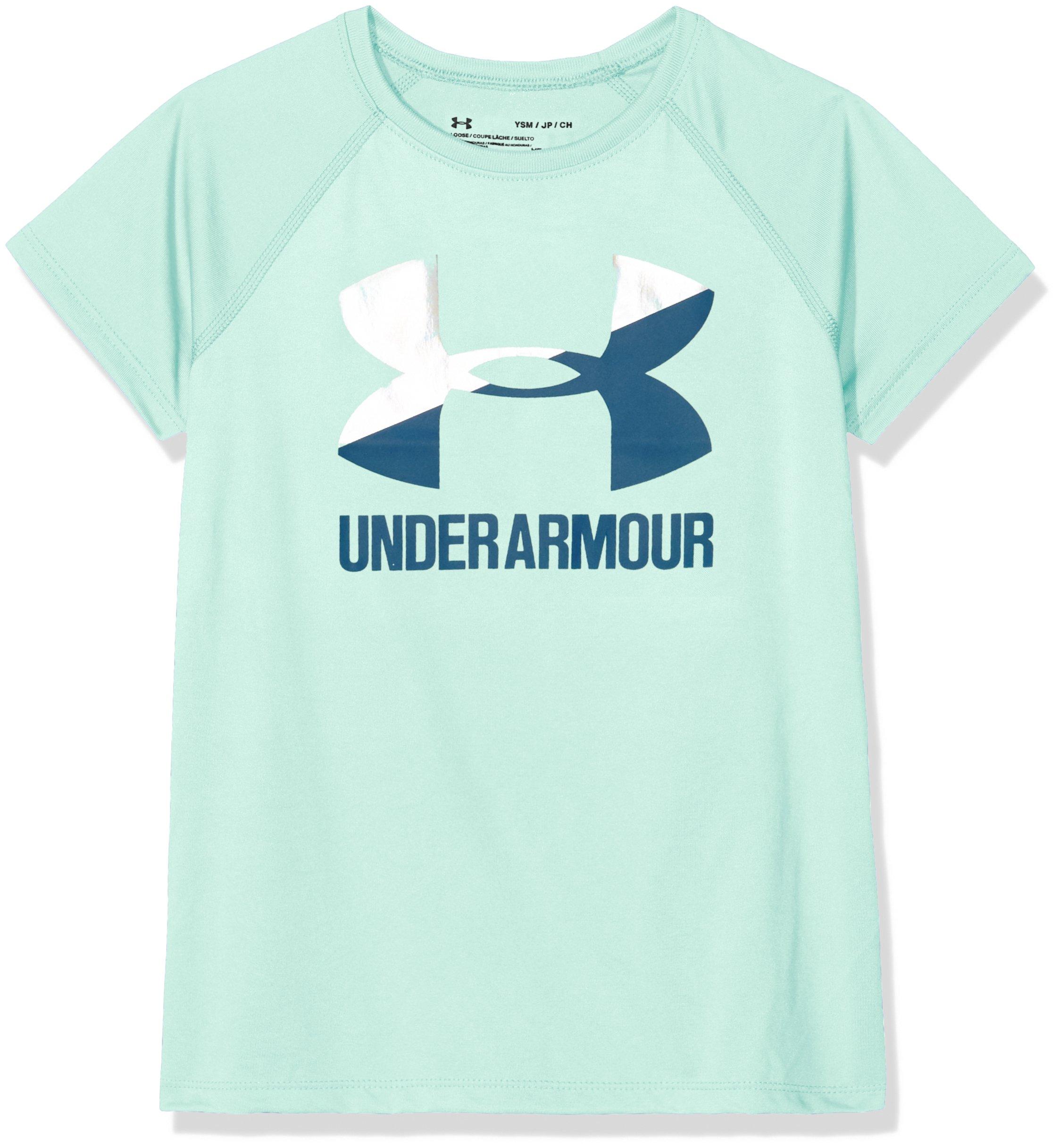 Under Armour Girls Solid Big Logo Short Sleeve T-Shirt, Refresh Mint/Moroccan Blue, Youth Medium