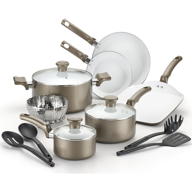 T-fal, Celebrate Ceramic, C991SE, PTFE-free, PFOA-free, Dishwasher Safe  Cookware, 14 Pc  Set, Champagne