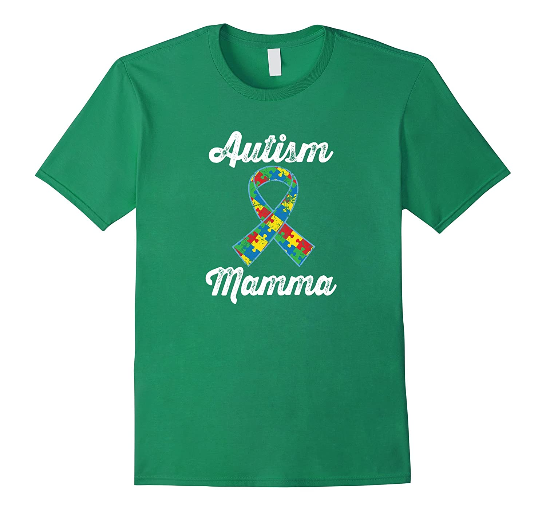 Autism Mamma Awareness Puzzle Ribbon Walk T-shirt-TH