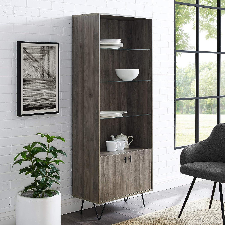 Walker Edison Mid-Century Modern Tall Accent Cabinet Shelves Living Kitchen Dining Room Storage, 4 Shelf, Slate Grey