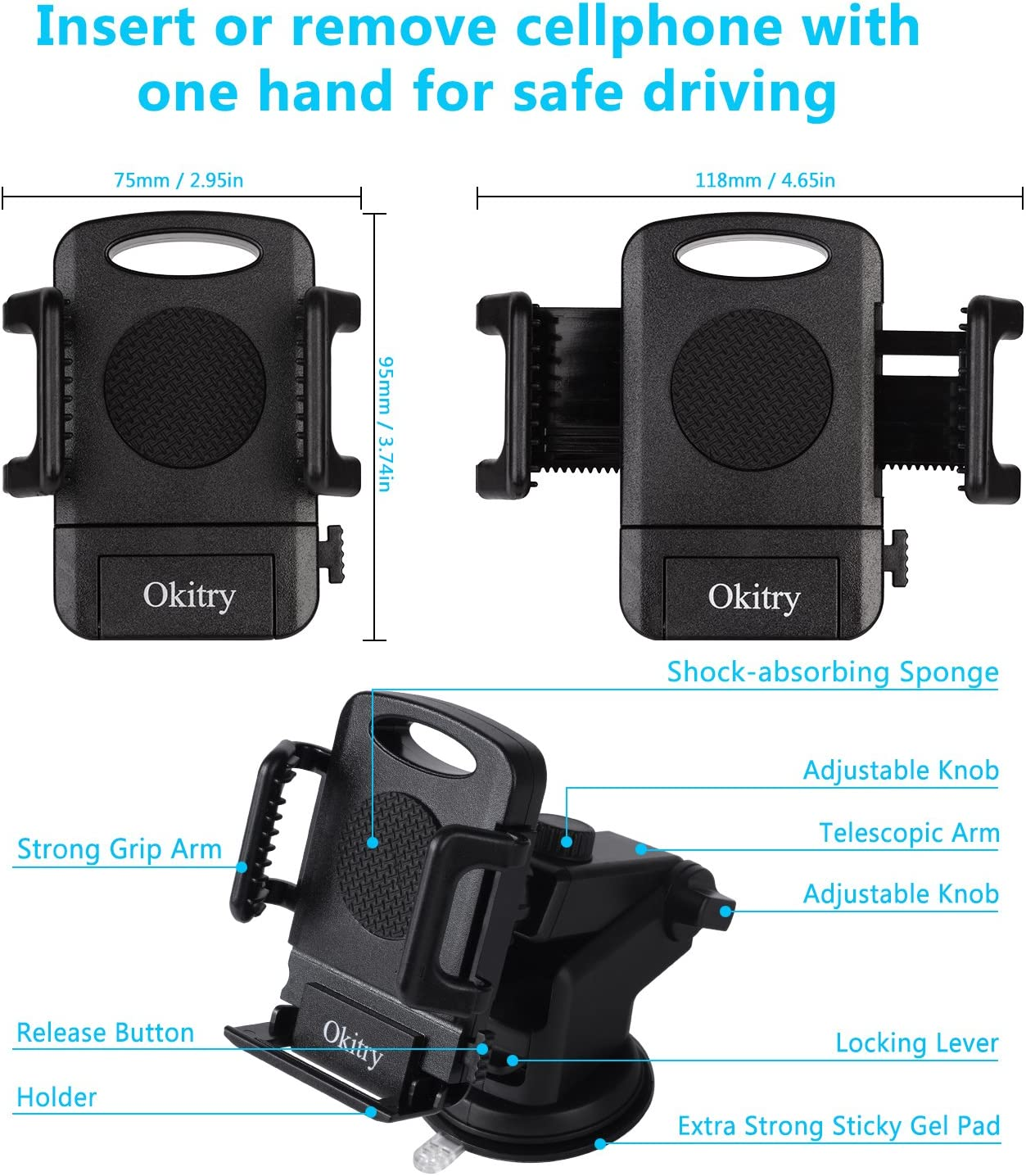 Widras New 2020 Design Dashboard Windshield Car Phone Mount Washable Strong Sticky Gel Pad w// One-Touch Design Holder for iPhone 11 Pro Max XS X 8 7 Plus Samsung Galaxy S7 S8 S9 S10 Edge Universal