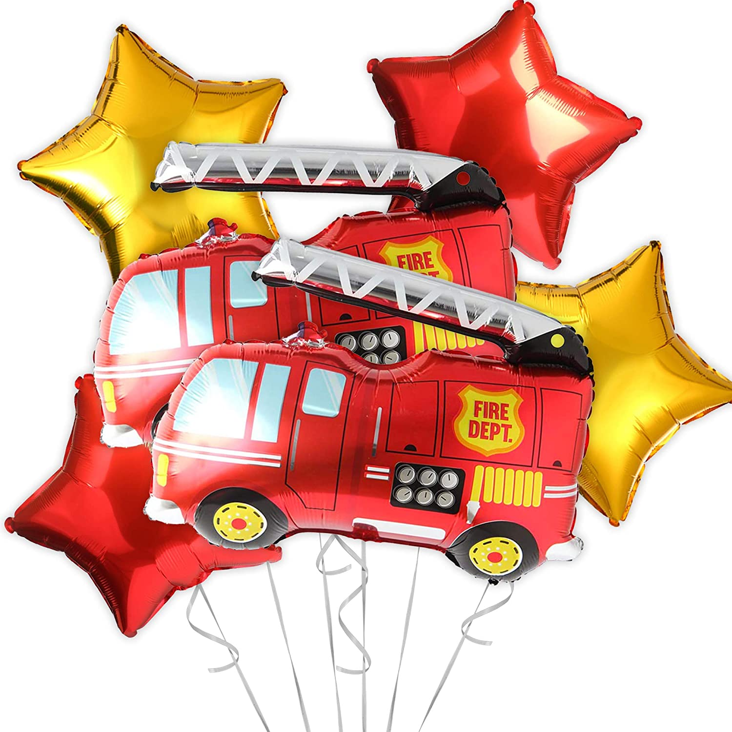 OMG Party Factory - Firetruck Balloons for Birthday Party | Fire Engine Rescue Themed Decorations Mylar Foil Helium Balloon Decor | Large Firefighter Truck Balloon Supplies Set in Red (Fire Truck)
