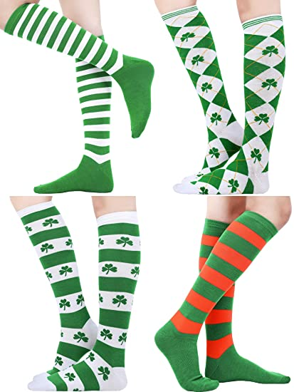 db80d292a0d Blulu 4 Pairs St. Patrick s Day Knee Socks Shamrock Striped Thigh High  Stocking for Costume