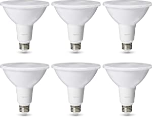 AmazonBasics Commercial Grade 25,000 Hour LED Light Bulb | 120-Watt Equivalent, PAR38, 3000K White, Dimmable, 6-Pack