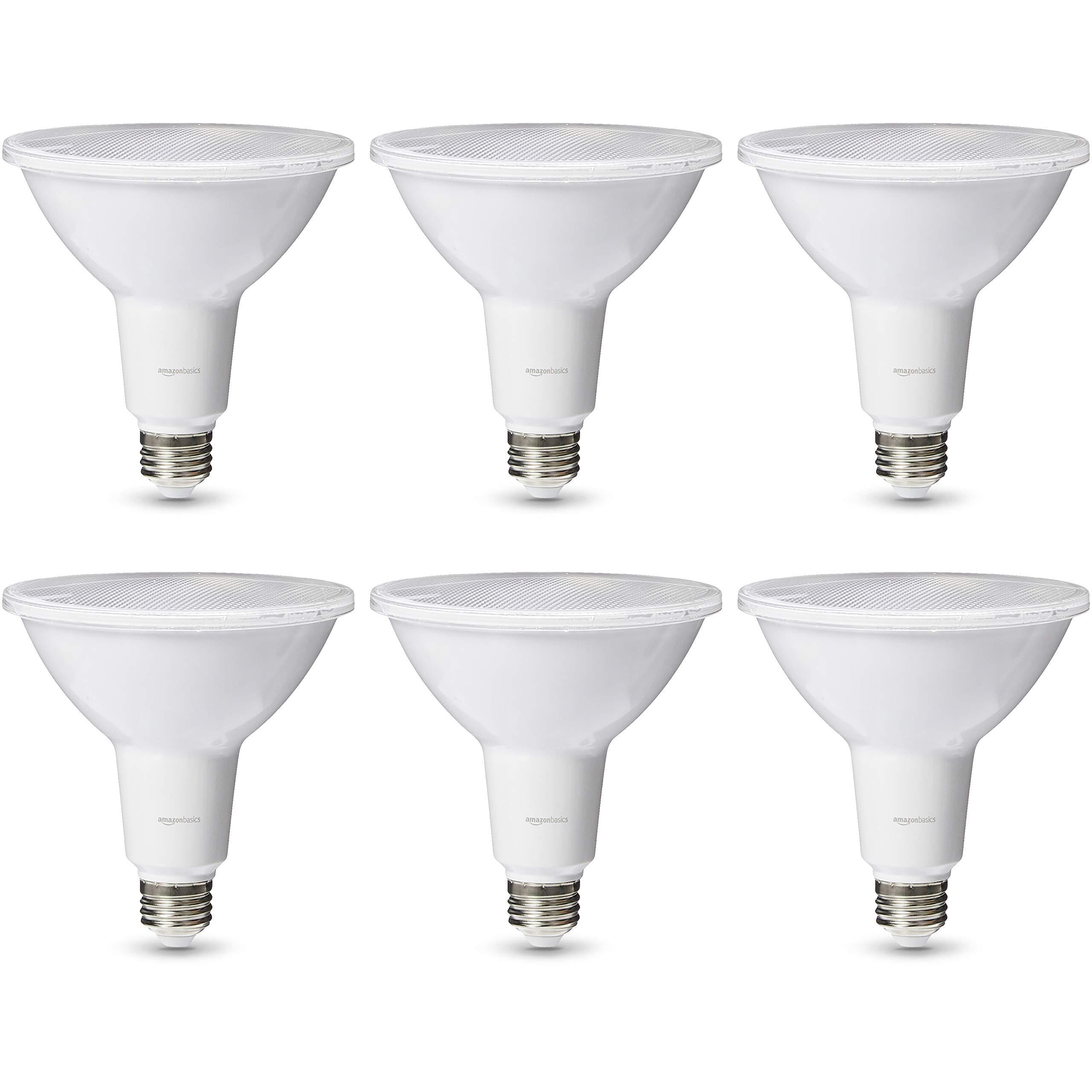 AmazonBasics Commercial Grade LED Light Bulb | 120-Watt Equivale, PAR38, Soft White, Dimmable, 6-Pack