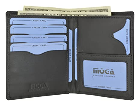 4c15ef5a7c Moga Italian Design Leather Large Hipster Bifold Credit Card ID Mens Wallet  (Black)