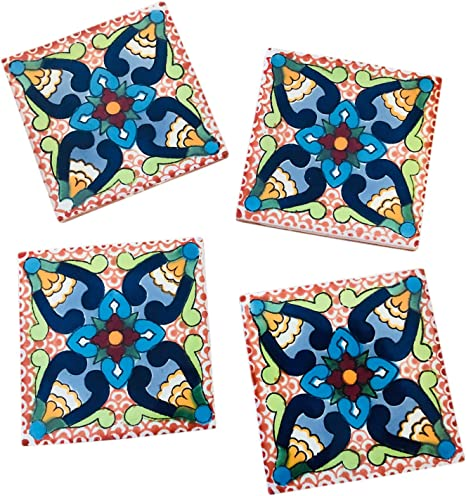C Set of 4 Handmade Natural Stone Ceramic Tile Drink Coasters-Mexican Tile 3