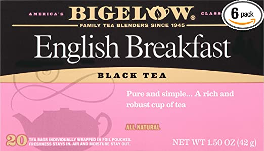 Bigelow English Breakfast Tea 20 Bags (Pack of 6) Caffeinated Individual Black Tea Bags, for Hot Tea or Iced Tea, Drink Plain or Sweetened with Honey or Sugar