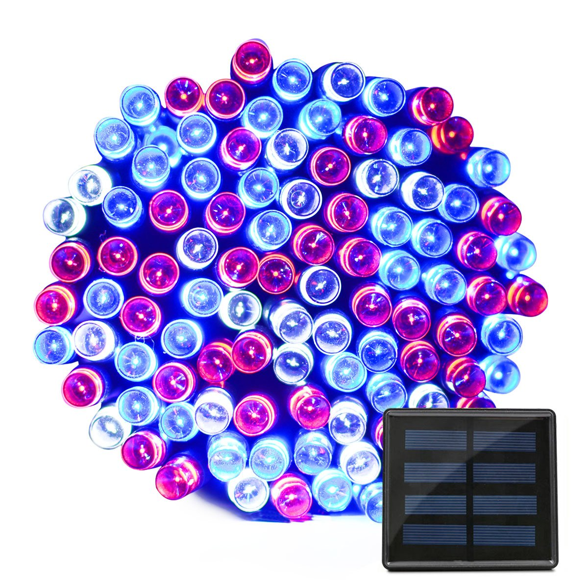 VMANOO Solar Lights 72ft 22m 200 LED 8 Modes July 4th Celebrate Light Patriotic Design with Red White Blue for Independence Day Party Xmas Decorations
