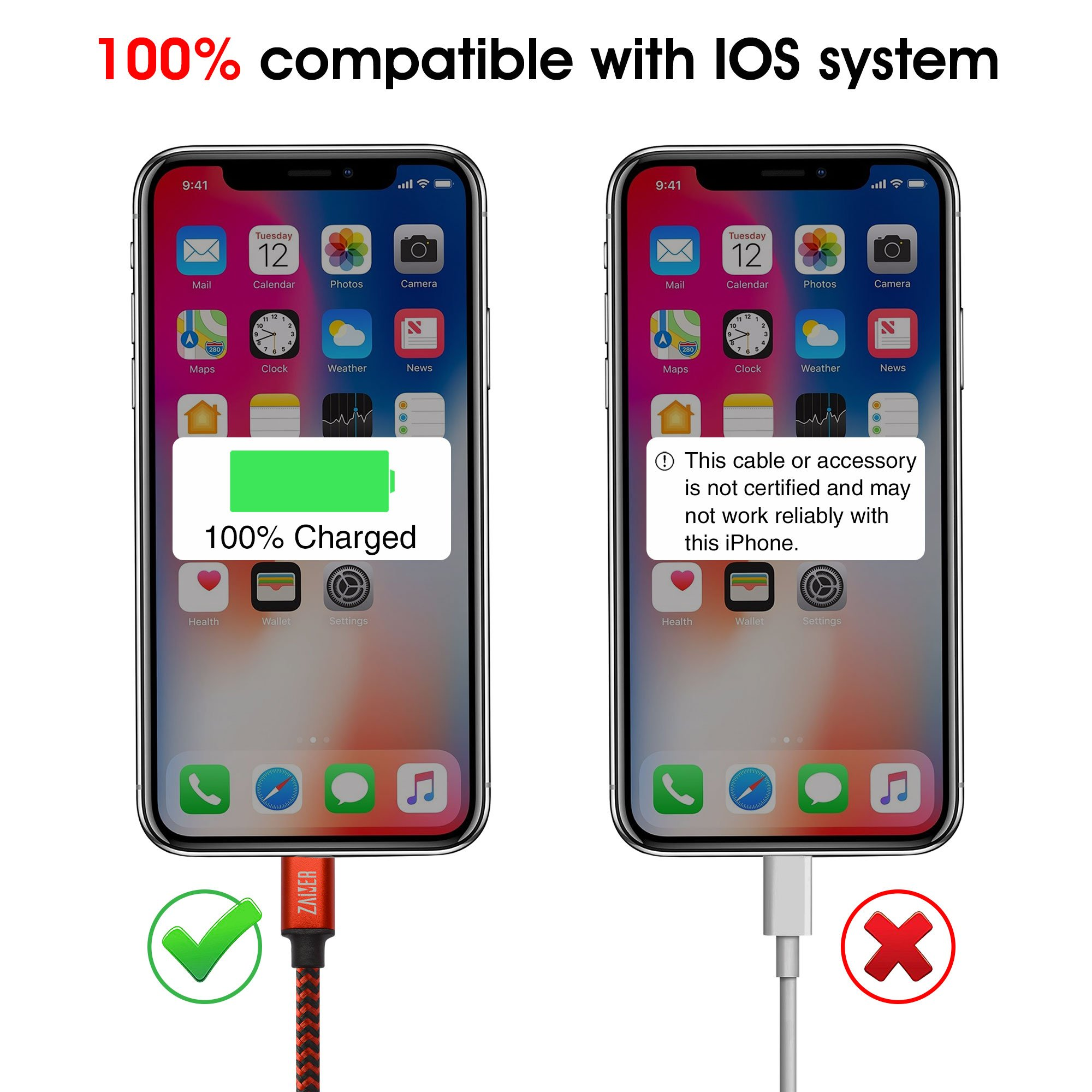 iPhone Charger Cable - Lightning Cable - 4Pack - 3FT 3FT 6FT 6FT -iPhone power cord pack for X 8 8 Plus 7 7 Plus 6 6S 6 Plus 5S SE iPad iPod by ZAiMER (Image #3)