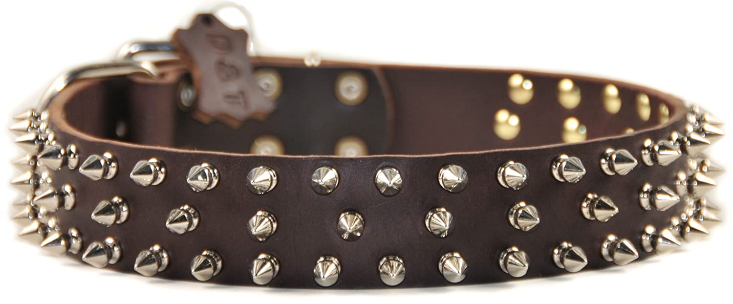 Dean and Tyler Triple Threat , Leather Dog Collar with Nickel Plated Spikes Brown Size 22-Inch by 1-1 2-Inch Fits Neck 20-Inch to 24-Inch