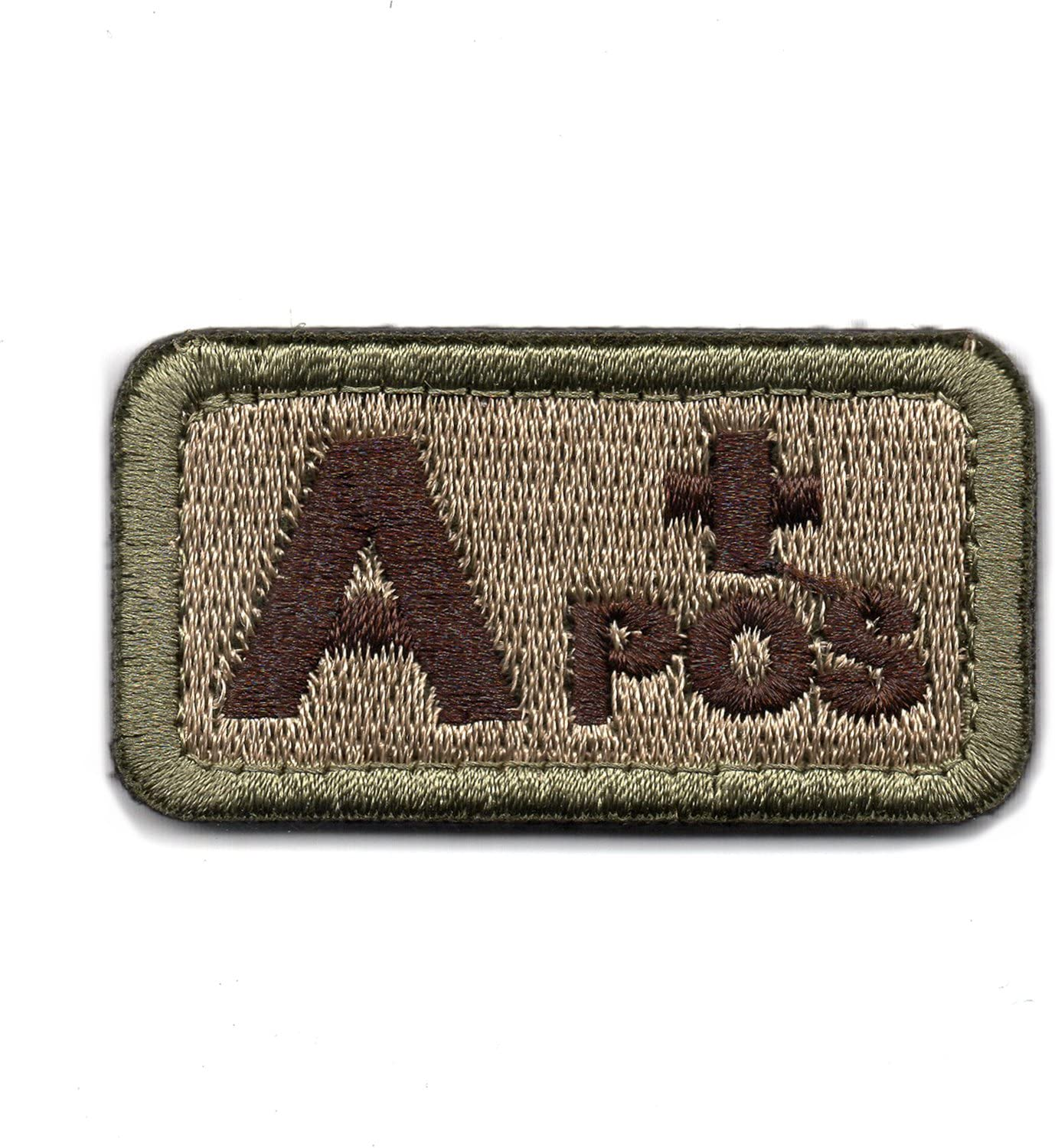 Wilde Passion Blood Type A Positive POS Badge - Embroidered Morale Military Patch (Coyote Brown A)