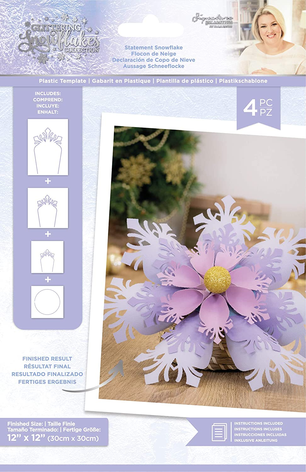 Sara Signature Glittering Collection-Plastic Template-Statement Snowflake one Size