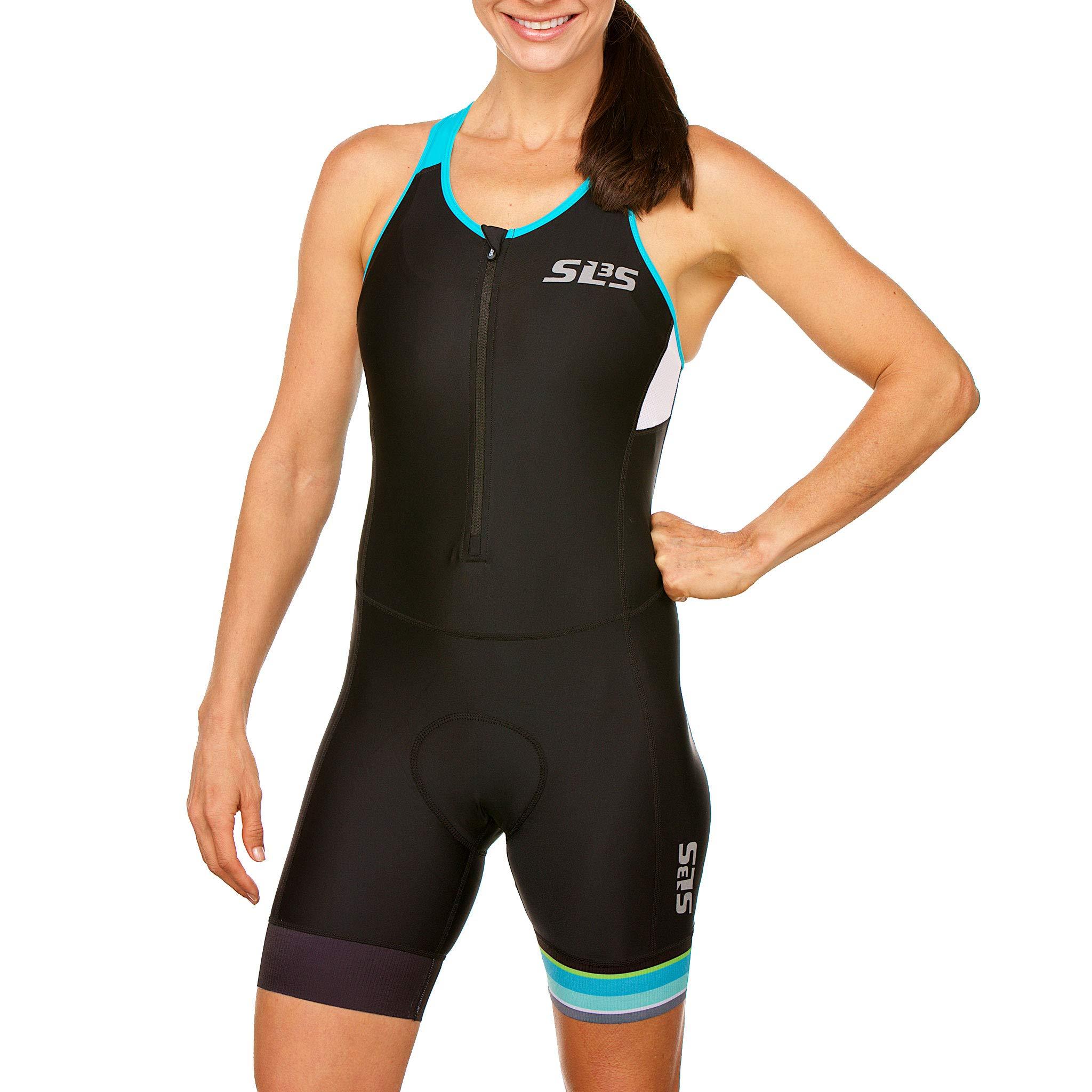 SLS3 Women`s Triathlon Tri Race Suit FRT | Womens Trisuit | Back Pocket Triathlon Suits | Anti-Friction Seams | German Designed (Black/Martinica Blue, XS) by SLS3 (Image #2)