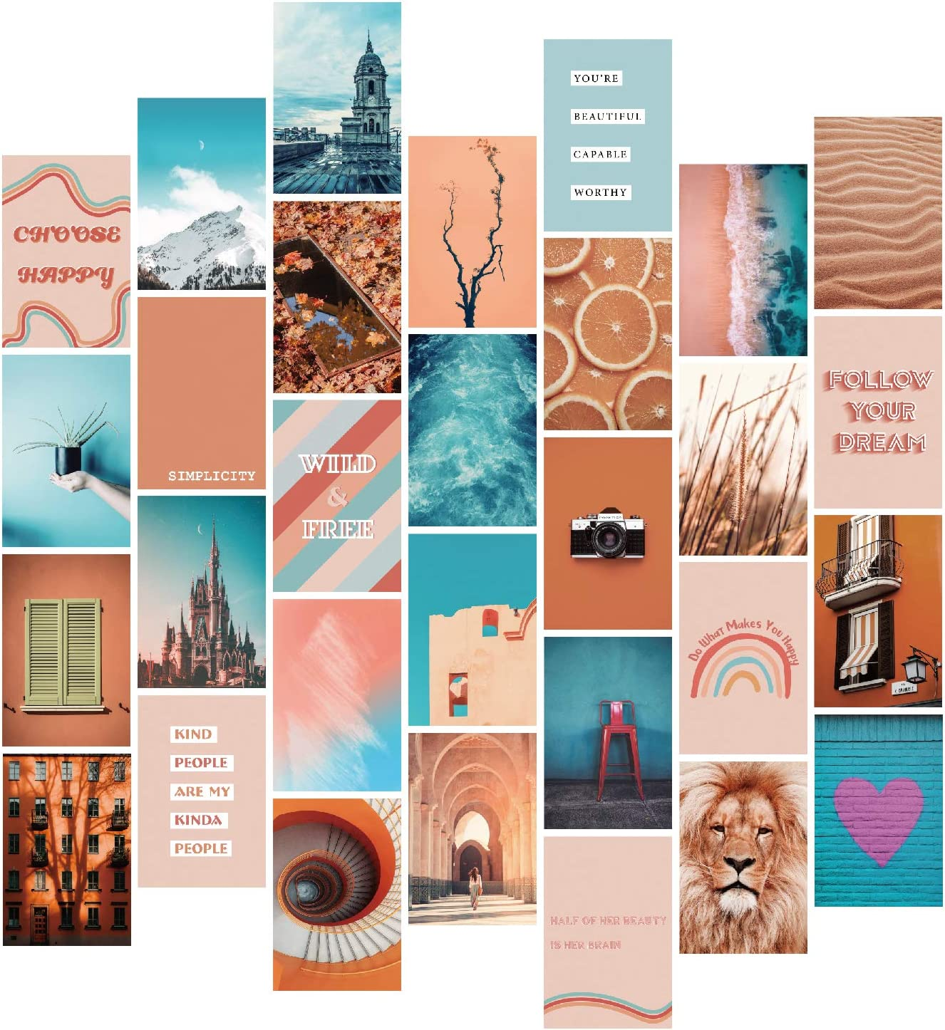YUMKNOW Aesthetic Wall Collage Kit - 4x6 inch Set of 30, Teen Girl Room Decor for Bedroom Dorm, Boho Modern Wall Art, Peach Teal Blue Photo Picture Posters, Inspirational Gift for Teenage Girls Her